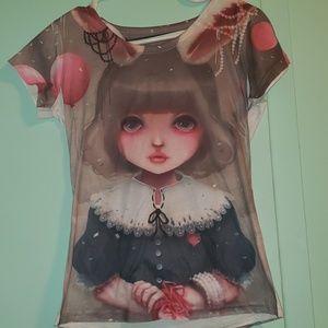 Kawaii adorable bunny girl anime original art tee